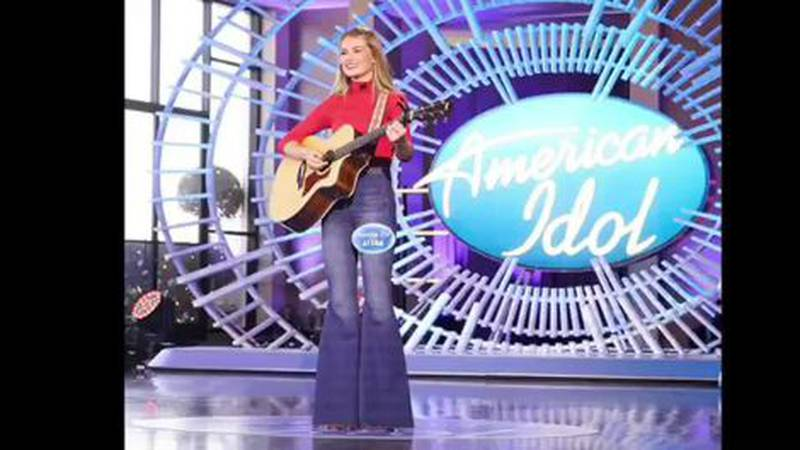 """Riley Thompson auditions on the """"American Idol"""" stage."""