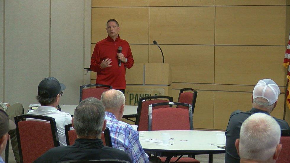 Carthage Bulldogs Head Football Coach and Athletic Director Scott Surratt speaks at the gas...