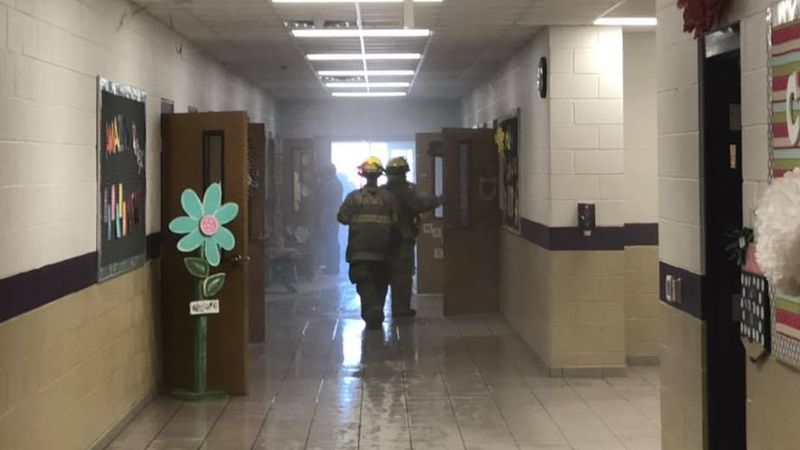 Smoke filled the hallway of Eustace Intermediate School after a Friday morning fire sparked in...