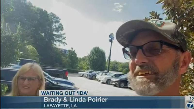 Pictured are Brady and Linda Poirier, two Louisiana evacuees. (Source: KLTV Staff)