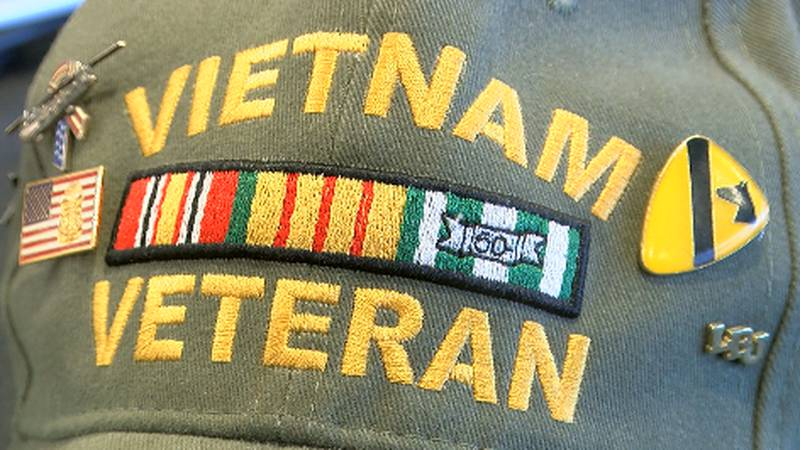 The hat is decorated with a ribbon bar and several unique pins including a Native American...