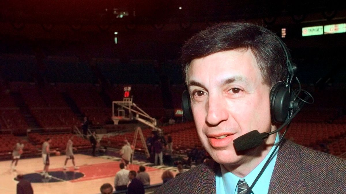 Marv Albert poses at Madison Square Garden in New York, in this Sunday, Feb. 7, 1999, file...