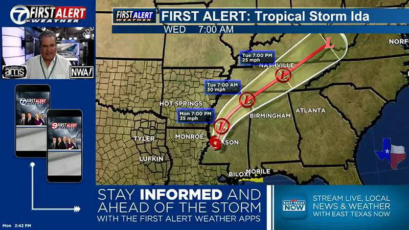 Ida will continue to move away from East Texas and SE Louisiana.