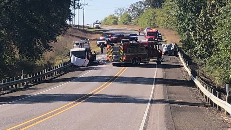 Highway 155 is currently shut down north of Winona due to a two-vehicle crash Wednesday morning.