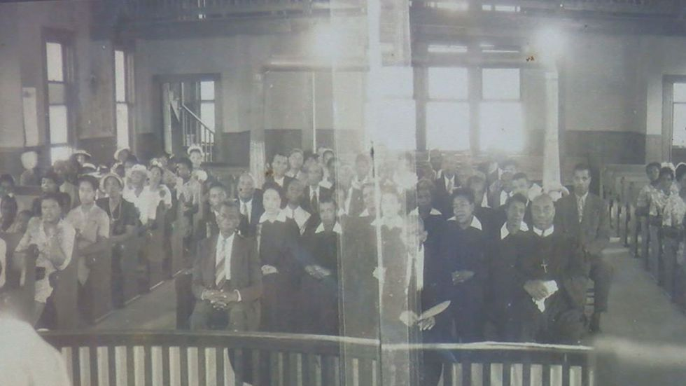 An early photograph of the Mt. Vernon AME congregation shows church members, ministers,...