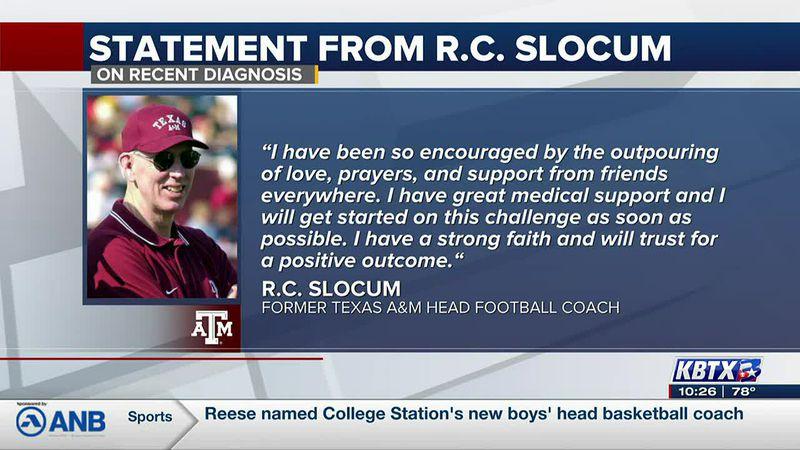 Former Texas A&M Head Football Coach RC Slocum diagnosed with cancer