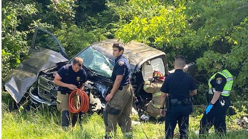 One person was injured after a pickup went off a Longview road and struck a tree Tuesday...