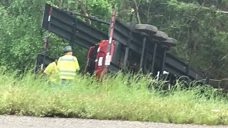 This car hauler overturned after hydroplaning on the US 259 extension in Rusk County.