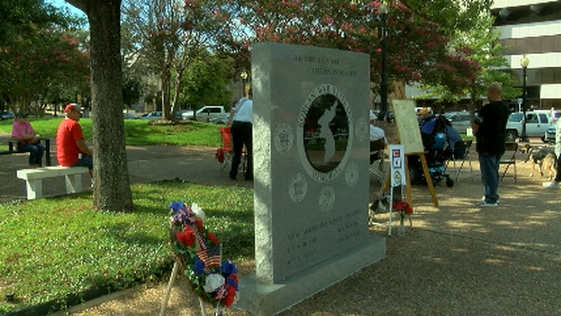The Korean War ceremony was held next to the Korean War memorial in the Tyler downtown square.