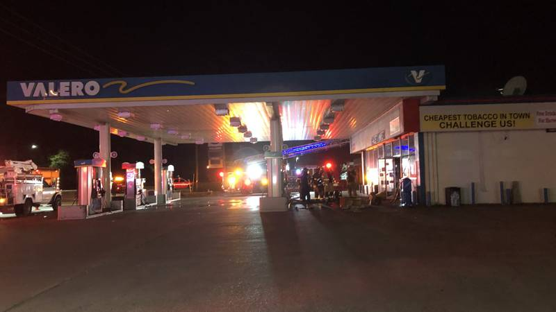 Crews respond to fire at gas station early Wednesday morning.