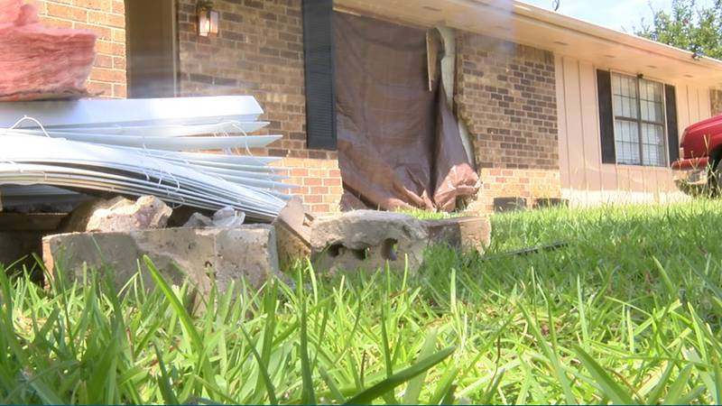 An unidentified driver crashed their car through the living room wall of a Tyler family's home...