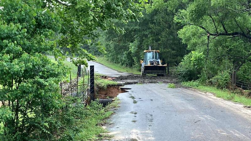 County Road 92 in Jasper County is closed because of a road washout. (Source: KTRE Staff)