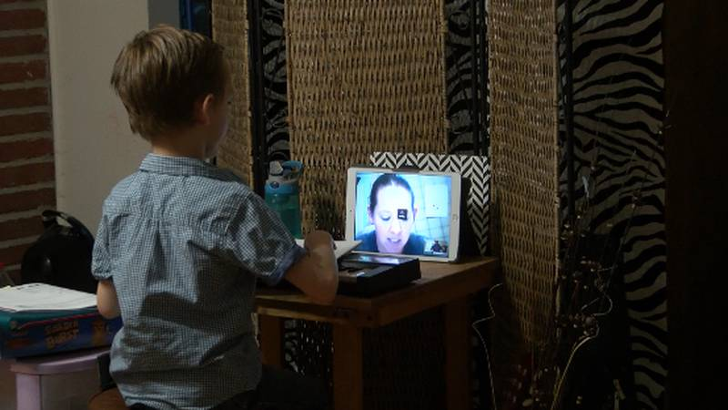 Charlie Lucoski of Lubbock continues piano through video conference.
