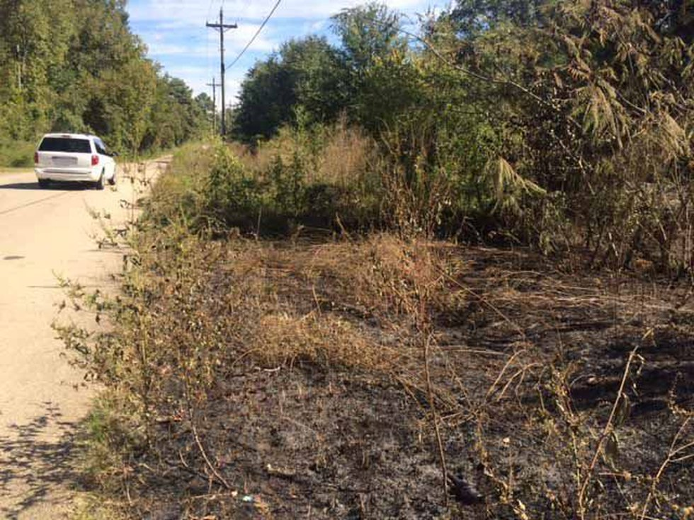 Grass remains scorched Monday where officials found a truck on fire Sunday in Longview....