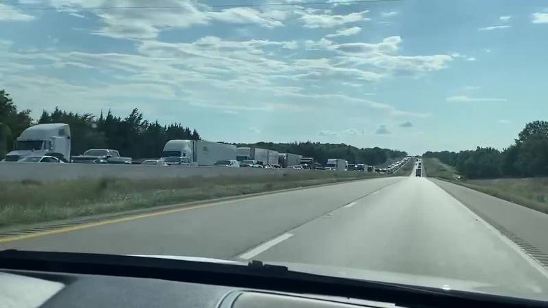 Traffic backed up for several miles on EB 20.