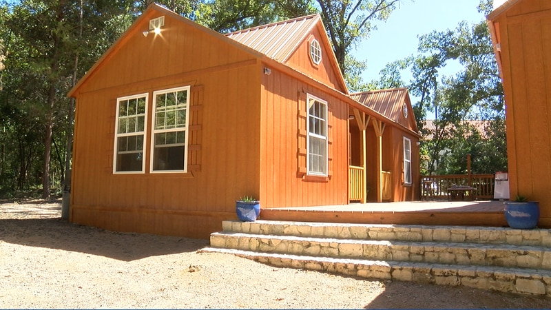 Two of the new learning cabins in the 15-acre outdoor learning center space at All Saints...