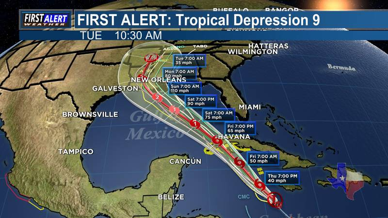 Tropical Depression Nine has formed in the Caribbean Sea just south of Jamaica with sustained...