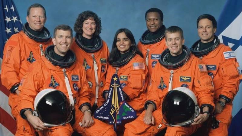 STS-107 official crew photo. (L to R) David Brown, Rick Husband, Laurel Clark, Kalpana Chawla,...