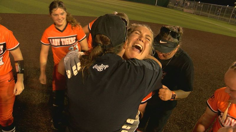 Selina Seupluvado celebrates after sending her team to the UIL State Tournament with a walk off...