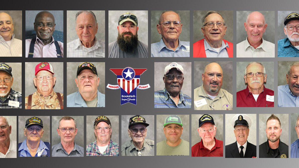 Brookshire Grocery Co.'s 19th WWII Heroes Flight will depart for Washington, D.C., on Thursday,...