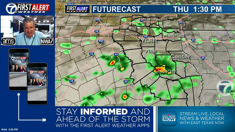 Better chances to see showers/thundershowers on Thursday...and even better on Friday and...