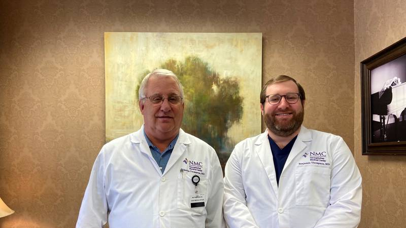 Dr. Charles Thompson (left) and Dr. Benjamin Thompson (right) practice medicine together in...