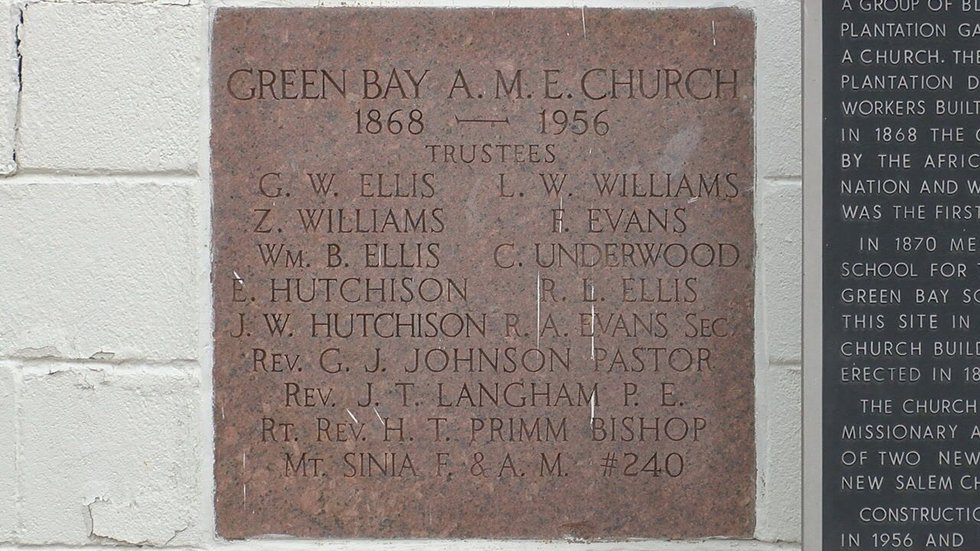 Green Bay AME Church founders plaque.