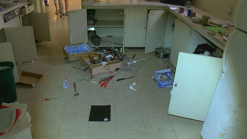 Damage caused by a vandal in the kitchen of the Tyler First United Methodist Church.