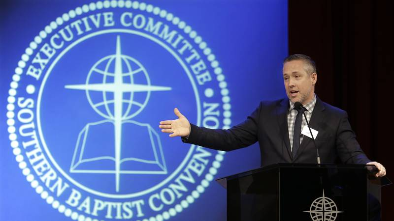 Southern Baptist Convention President J.D. Greear speaks to the denomination's executive...