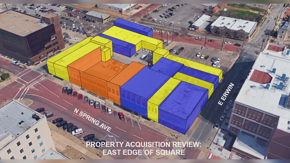 This image shows private property that the county would need to acquire before building on the...