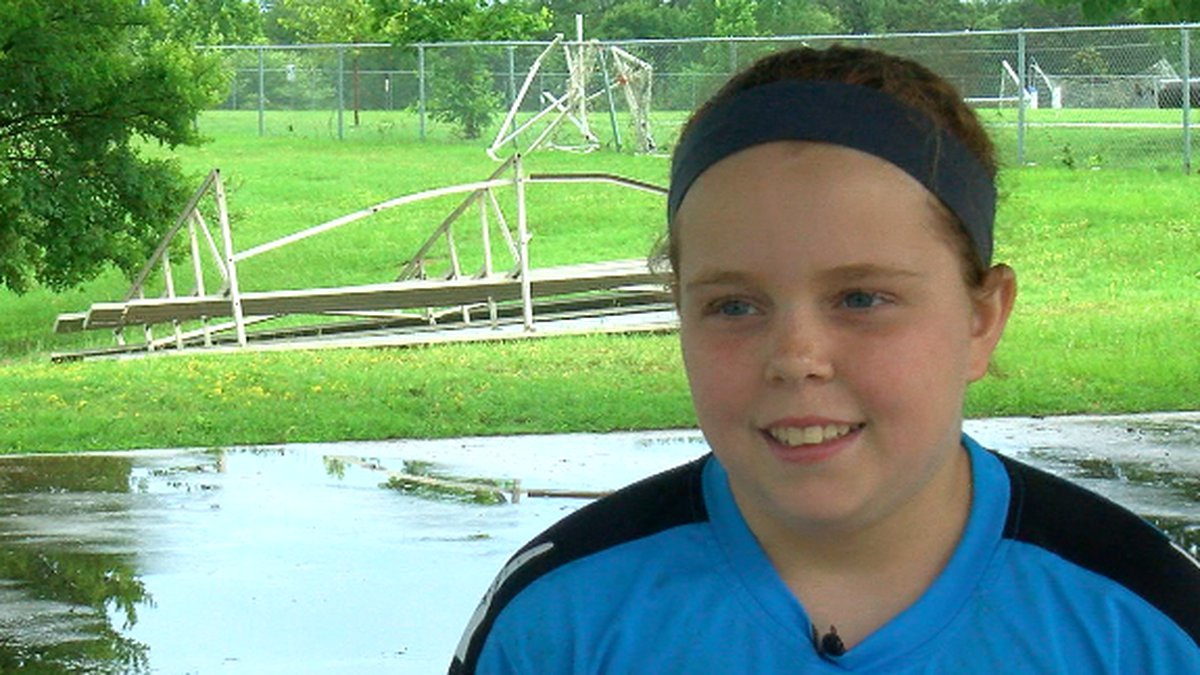 Gracie Beezley was at Lindsey Park for soccer when she was advised to take shelter.
