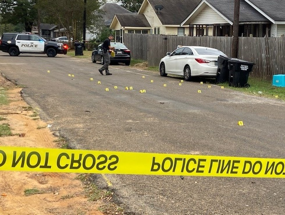 Longview Police have placed at least 25 evidence markers at the scene of a shooting on Park...