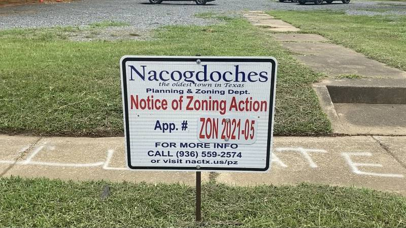 Sign that sits in front of property on N Mound Street