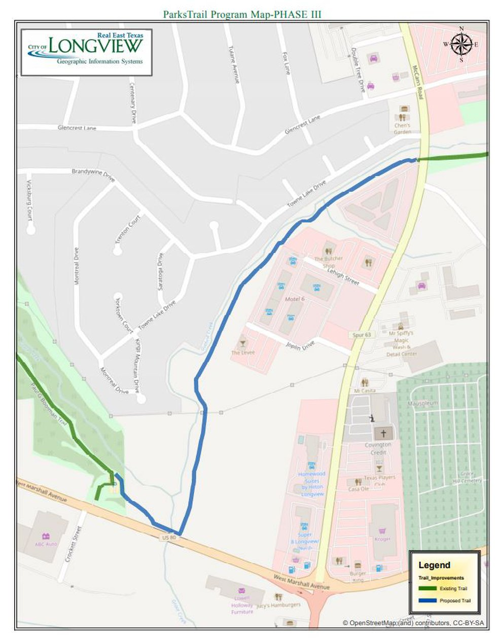 Phase 3 of trail expansion project. (Source: City of Longview)