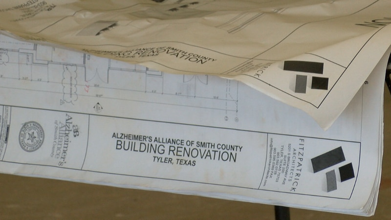 Fitzpatrick Architects blue prints of the new Alzheimer's Alliance of Smith County building.