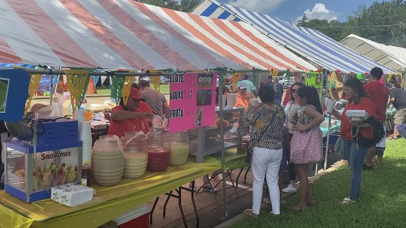 People gather to enjoy different foods at festival