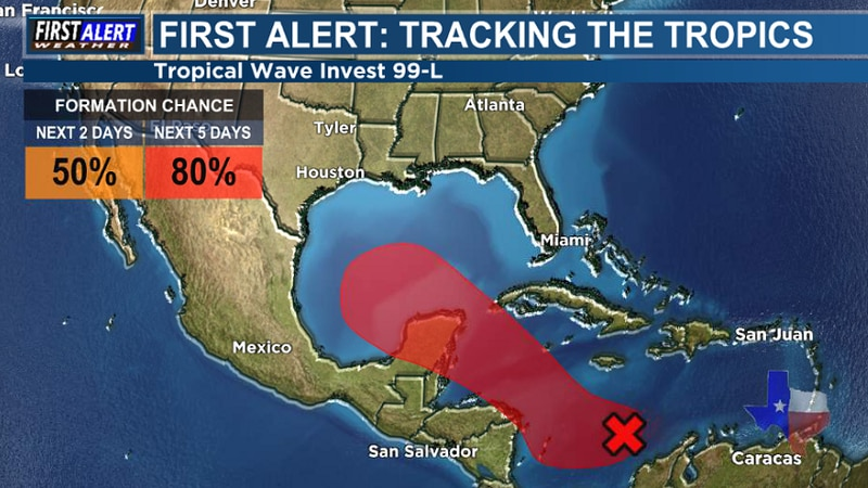 The 1 PM Wednesday Tropical Weather Outlook from the National Hurricane Center.