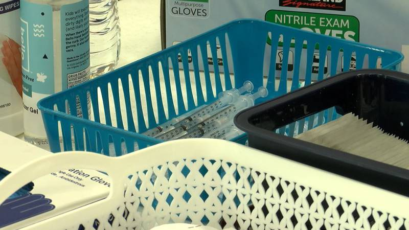 Supplies are seen at a special vaccination clinic held by the Hispanic Business Alliance and...