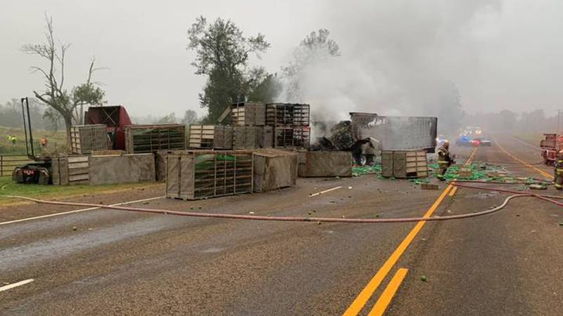 Garrison at the scene of a crash between two 18-wheelers