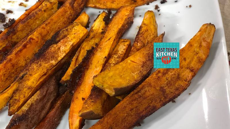 Try these slightly sweet potato logs as a side for your burger or as a snack instead of chips!