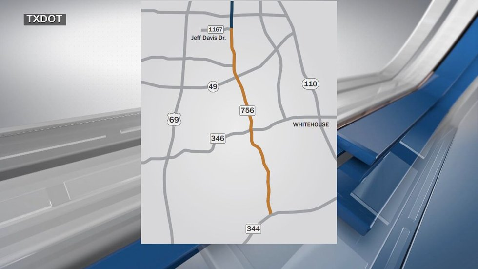 Map from TxDOT showing the road expansion project.