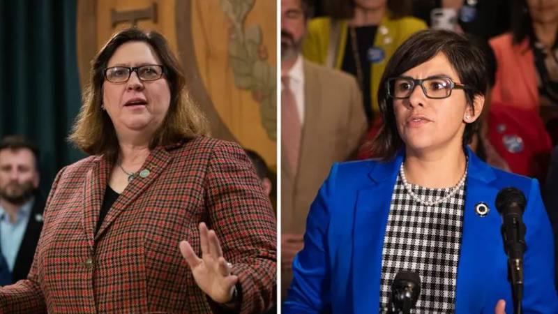 Democratic state Reps. Julie Johnson, left, and Jessica González.
