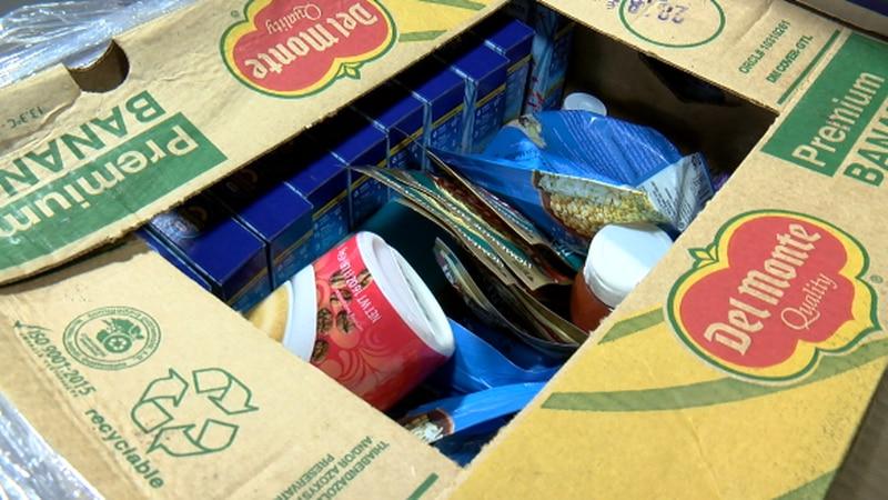 Food box at the East Texas Food Bank