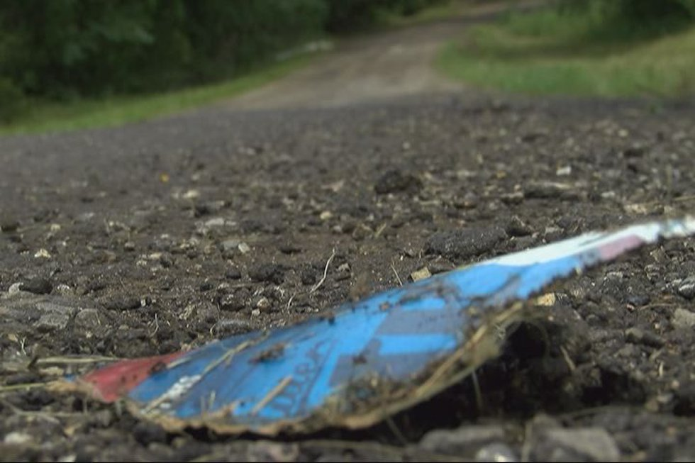 Beer cartons scattered along county roads. (Source: KLTV staff)