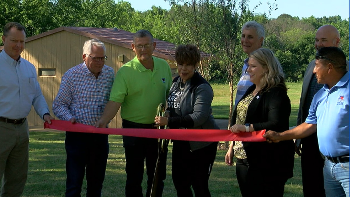 The newly renovated park features a new playground, baseball field, basketball courts and a...