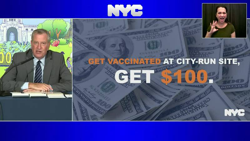 New York City Mayor Bill de Blasio announced a new COVID-19 incentive for anyone who gets a...