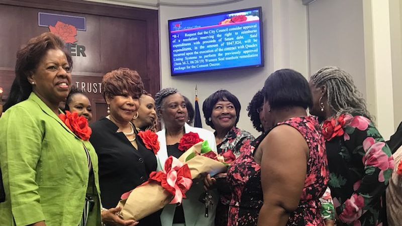 Newly-elected Tyler City County District 3 council member Shirley McKellar was sworn in...